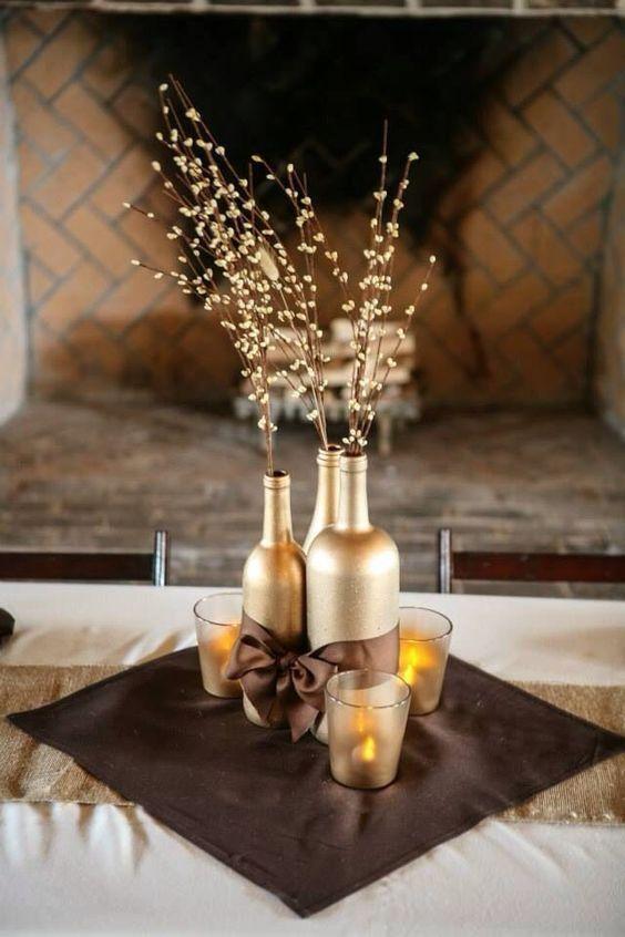 decoracao mesa garrafa vidro dourado