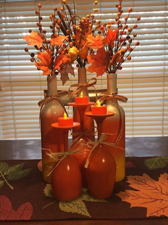 decoracao mesa garrafa vidro outono