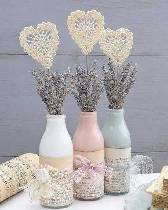 decoracao mesa garrafa vidro papel