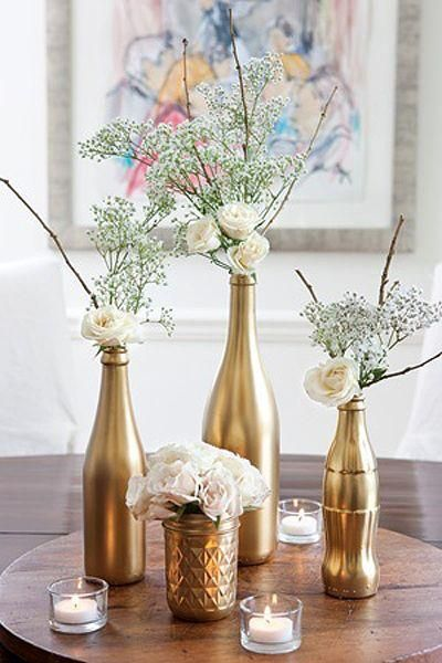 decoracao mesa garrafa vidro simples
