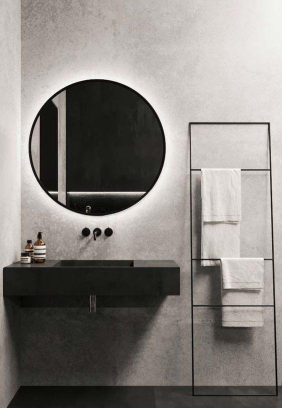 decoracao minimalista banheiro preto