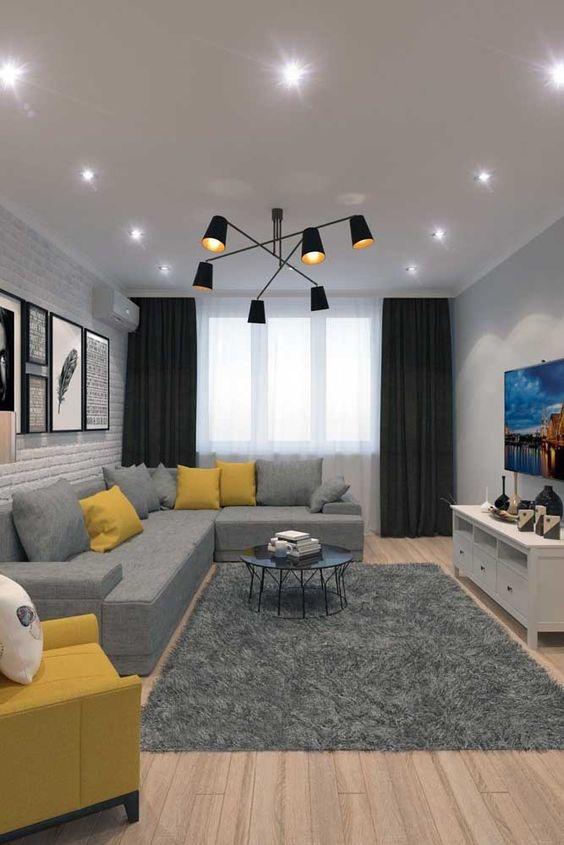 decoracao minimalista sala cinza