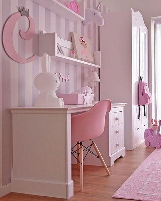 decoracao papel parede quarto menina cinza