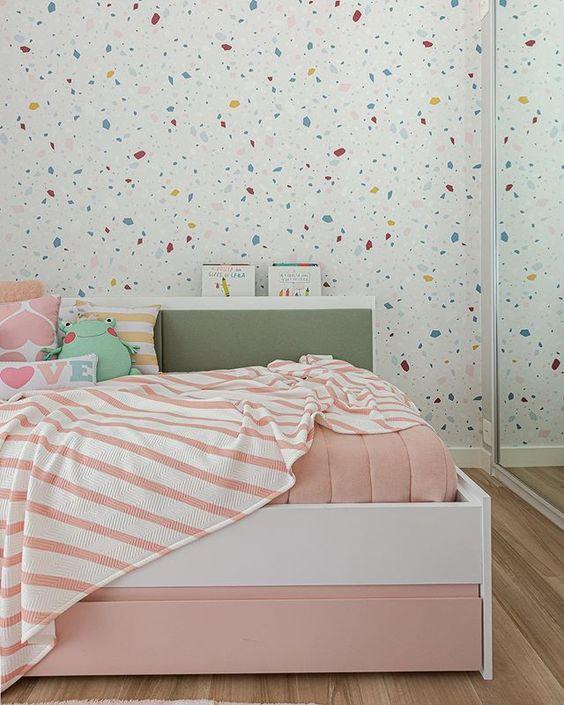 decoracao papel parede quarto menina colorido