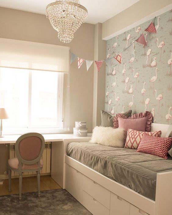 decoracao papel parede quarto menina flamingo