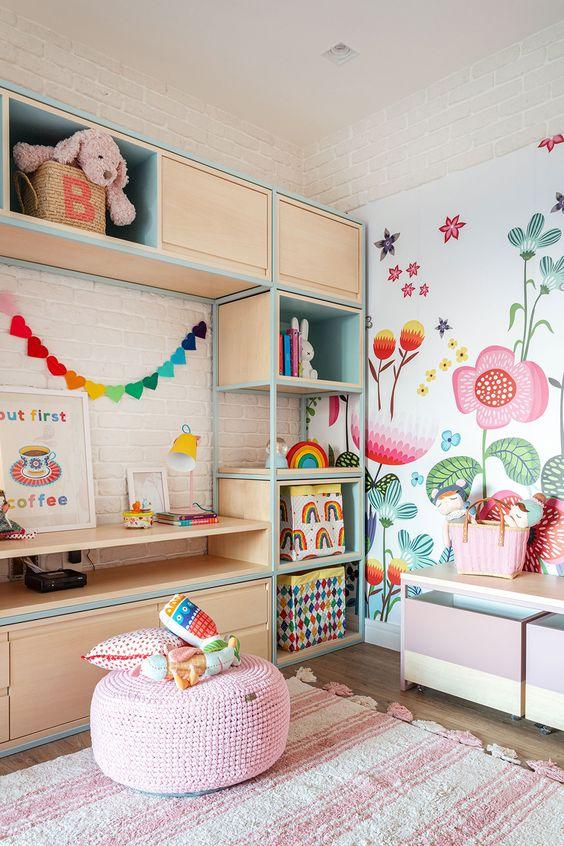decoracao papel parede quarto menina florido