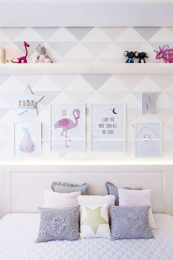 decoracao papel parede quarto menina geometrico