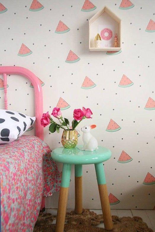 decoracao papel parede quarto menina melancia