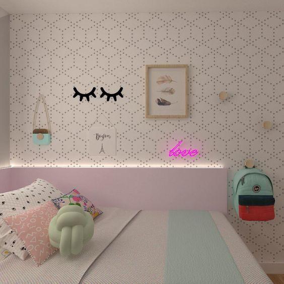 decoracao papel parede quarto menina preto