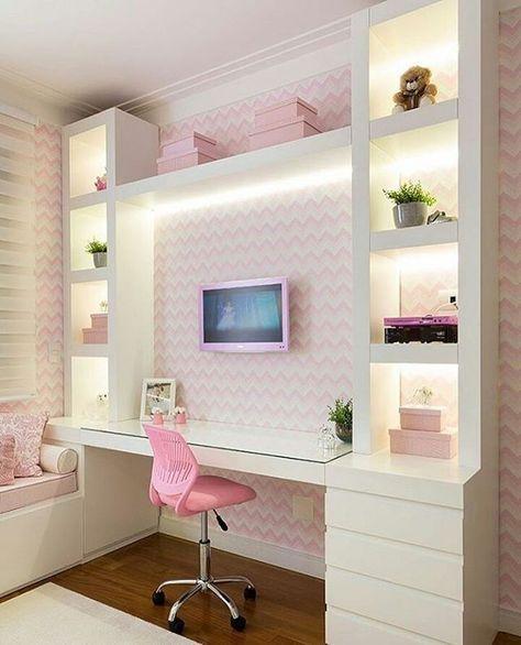 decoracao papel parede quarto menina rosa