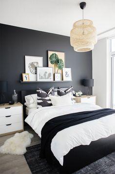 decoracao parede preta quarto