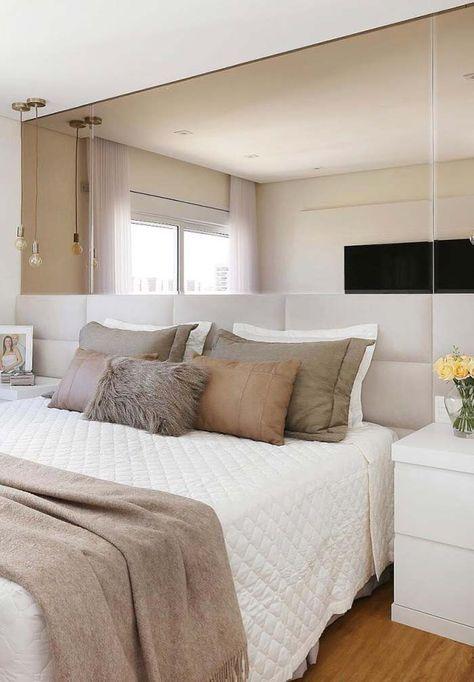 decoracao quarto casal moderno pequeno branco