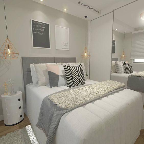 decoracao quarto casal moderno pequeno cinza