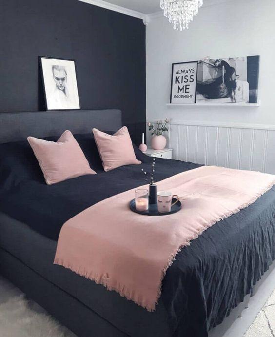 decoracao quarto casal moderno preto rosa