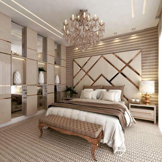 decoracao quarto casal moderno romantico dourado