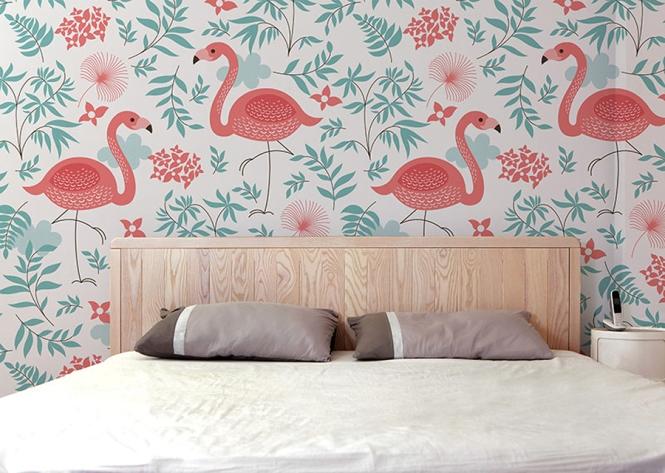 decoracao quarto flamingos papel parede 1