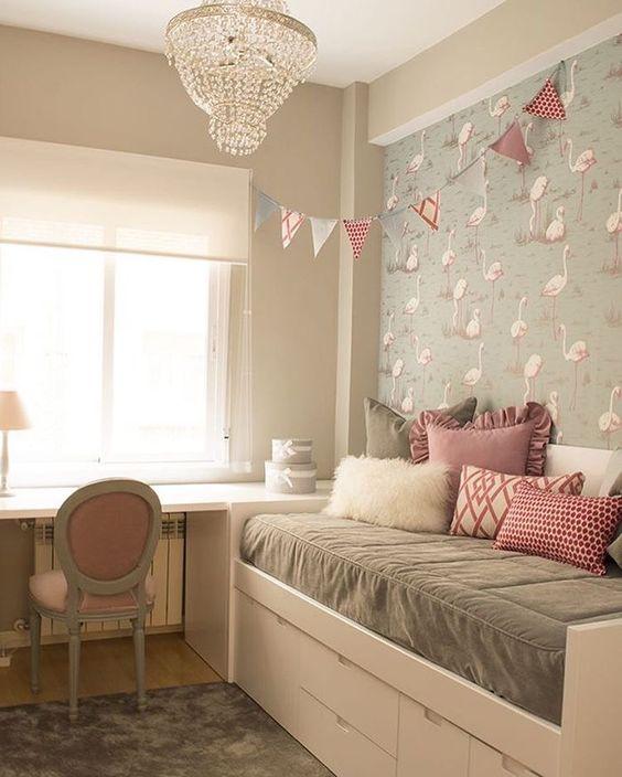 decoracao quarto flamingos papel parede
