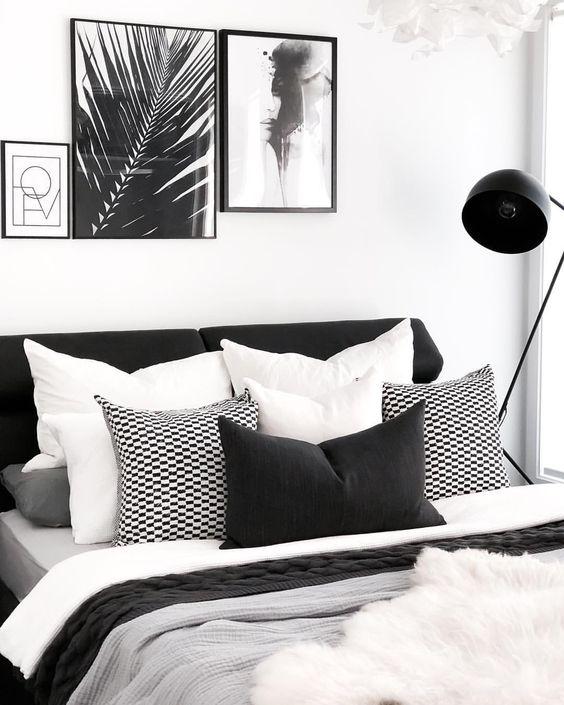 decoracao quarto preto cabeceira