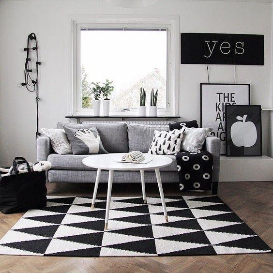 decoracao sala preto branco