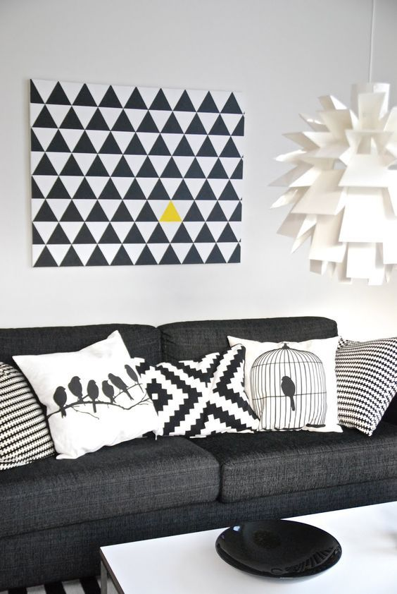 decoracao sala preto sofa