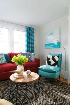 decoracao sala sofa vermelho