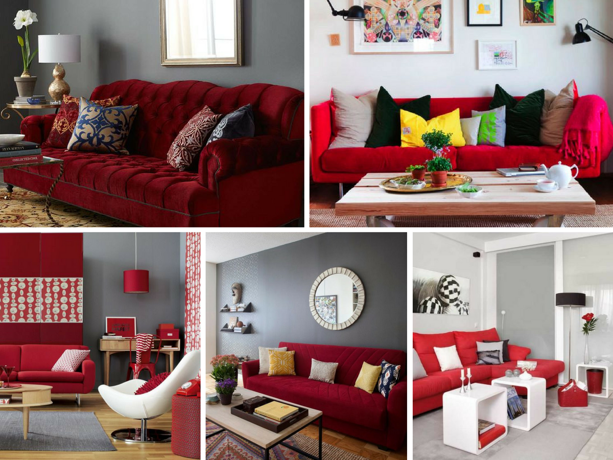 Decorao De Sala Com Parede Vermelha J Sofa Cinza Fotos Decoracao  -> Decoracao De Sala Pequena Vermelha E Amarela