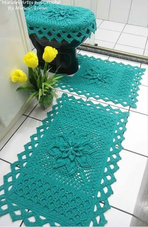 decoracao tapetes croche banheiro