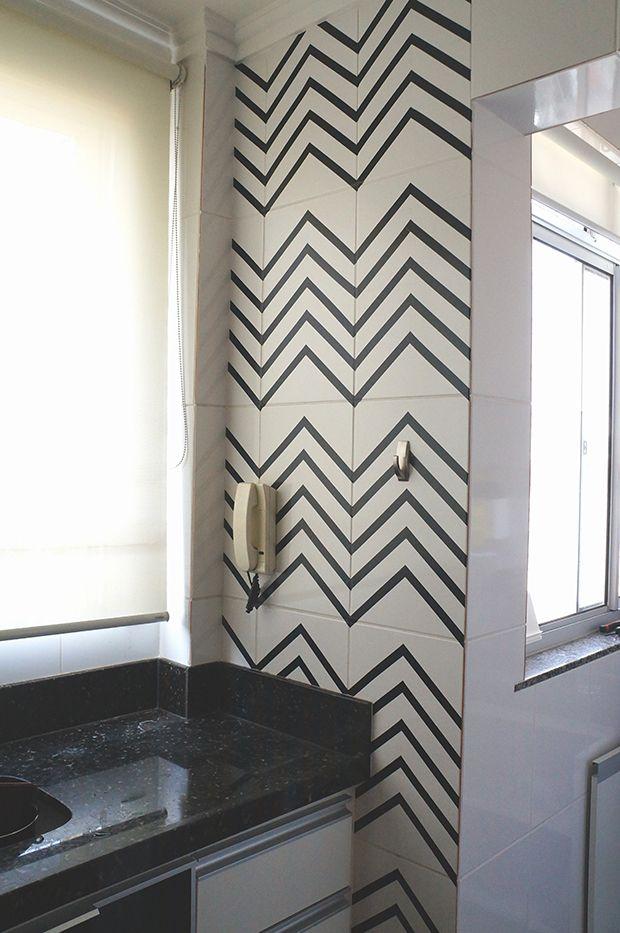 decorar com fita isolante azulejos