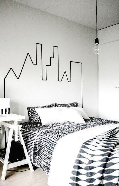 decorar com fita isolante cabeceira cama