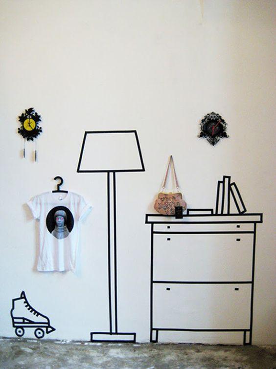 decorar com fita isolante quarto