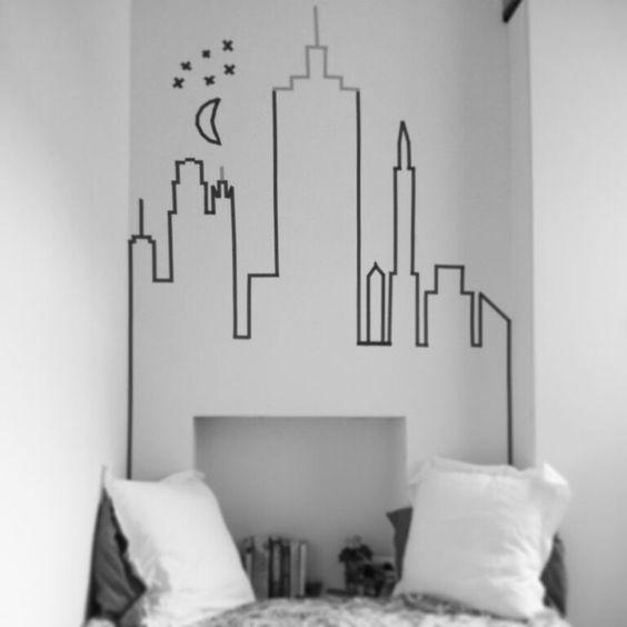 decorar com fita isolante sala 1