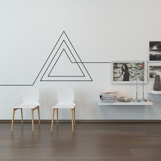 decorar com fita isolante sala