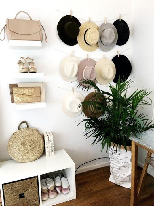 dicas organizar roupa chapeus