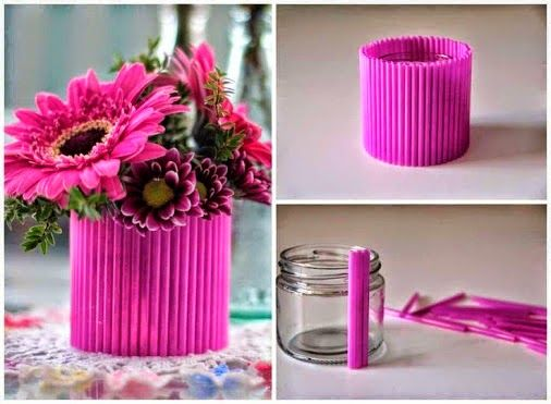 diy decoracao canudos vaso