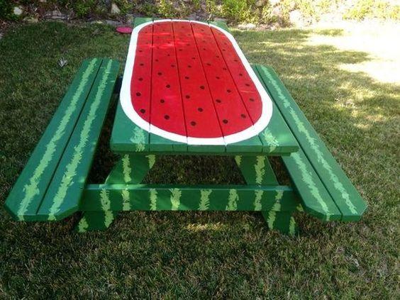 diy decoracao melancia banco jardim
