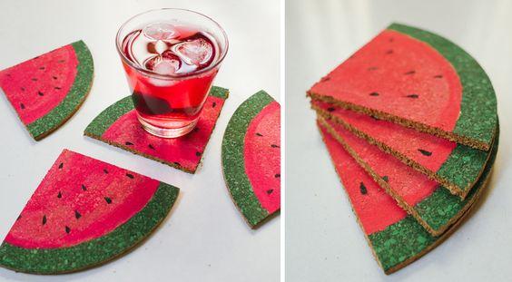 diy decoracao melancia base copos
