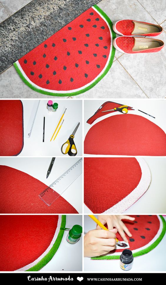 diy decoracao melancia tapete