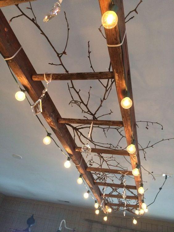 escada madeira candeeiro diy