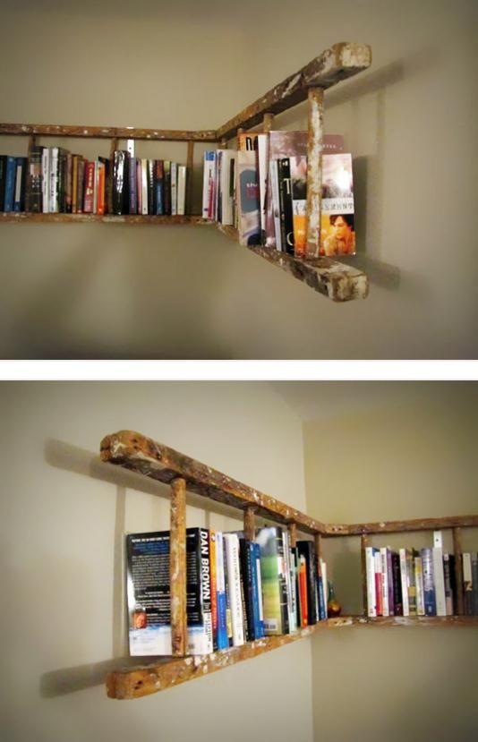 escada madeira prateleira de livros