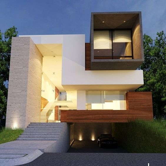 fachada sobrados modernos madeira 1
