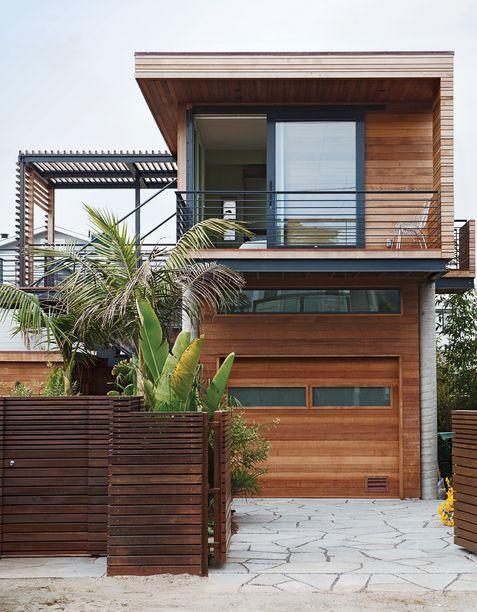 fachada sobrados modernos madeira