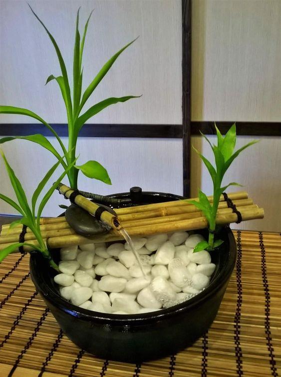 fazer fonte bambu pedras