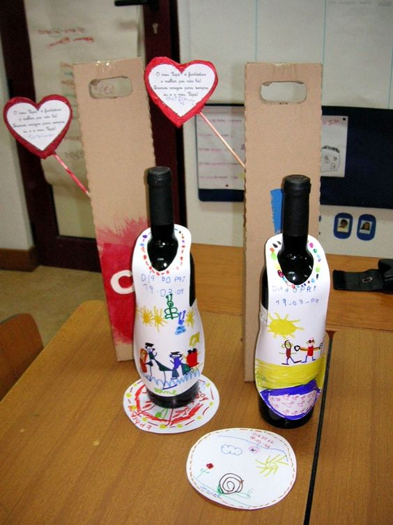 garrafa decorada dia pais escola