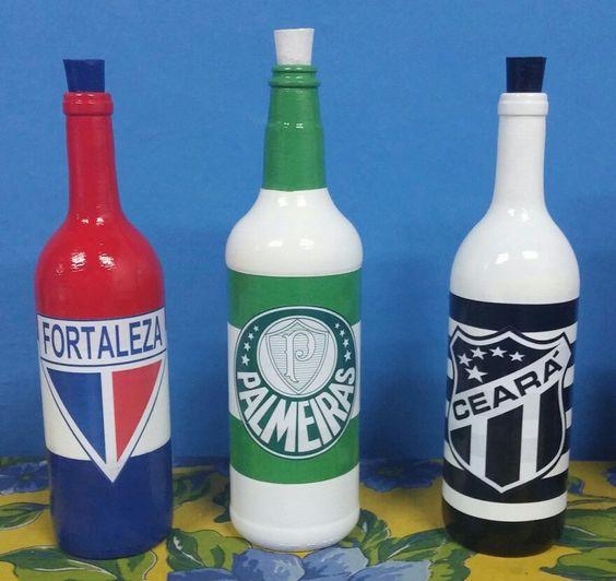 garrafa decorada dia pais time futebol