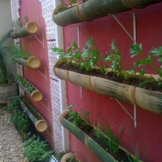 hortas suspensas bambu