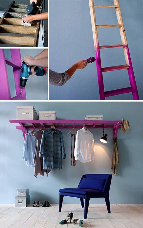 ideia reciclar escada madeira