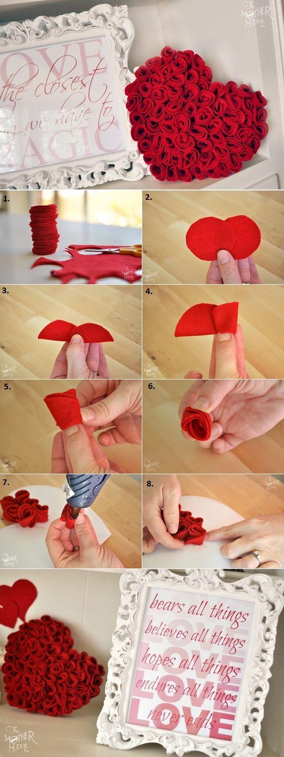 ideias decoracao coracao feltro almofada
