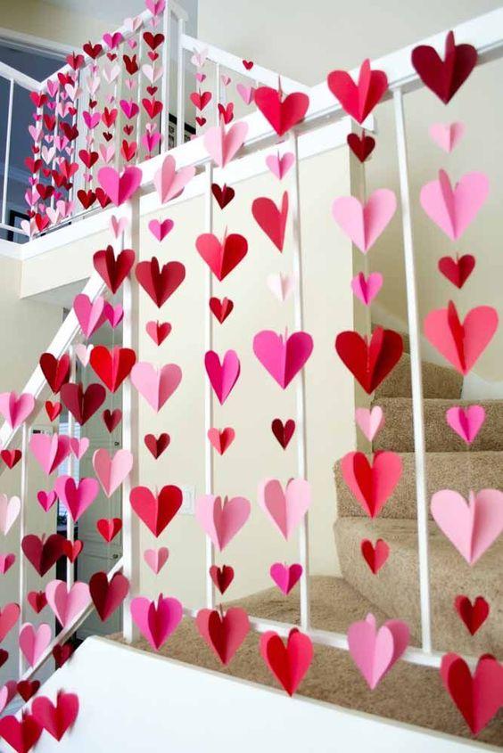 ideias decoracao coracao papel dia namorados