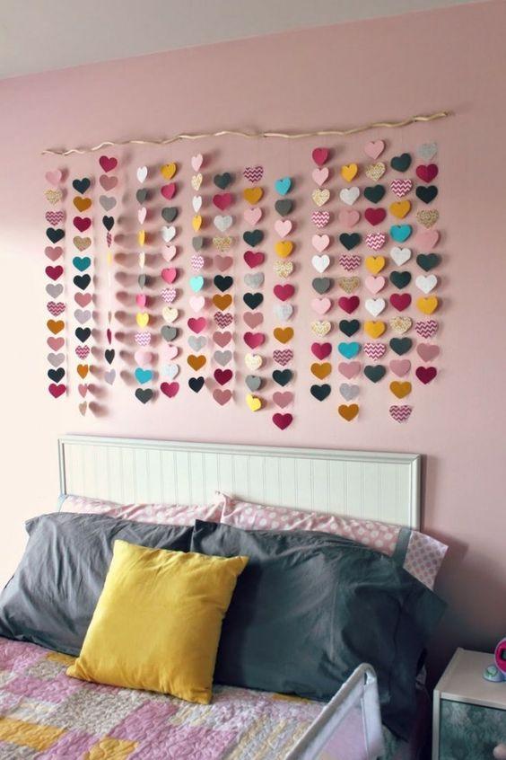 ideias decoracao coracao papel quarto