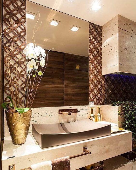 ideias decoracao dourado banheiro 2